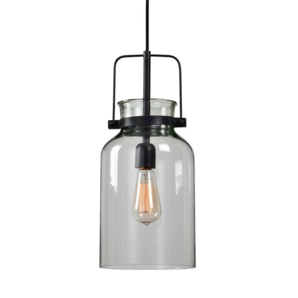 22101_Uttermost Lansing Single Light Mini-Pendant in a Black Finish with a Clear Glass Shade