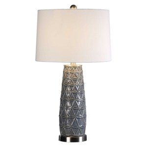 Uttermost Cortinada Emobossed Ceramic Table Lamp in a Stone Grey Glaze 27219