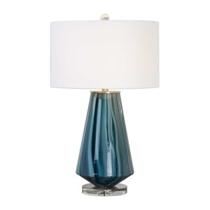 Uttermost Pescara Teal-Gray Glass Table Lamp with Deep Blue Swirls 27225-1