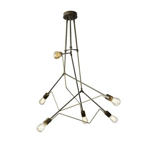 138930-SG-07-Hubbardton Forge Divergence Adjustable Pendant in Dark Smoke with Soft Gold Accents