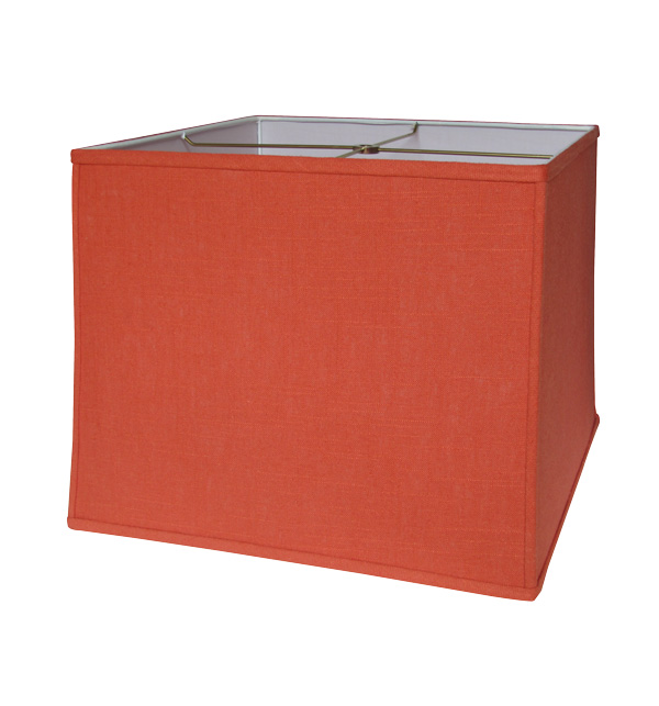 Deep Retro Square Lampshade in Paprika Linen
