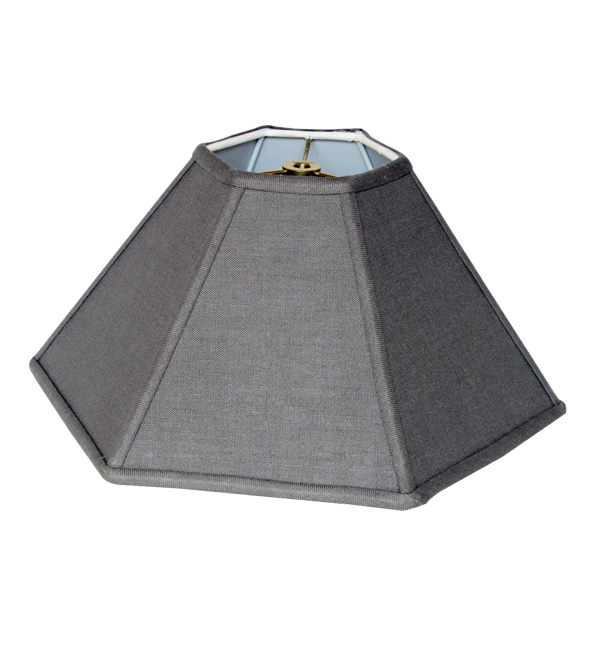 Hexagon Coolie Hardback Lampshade in 523-Gray Linen