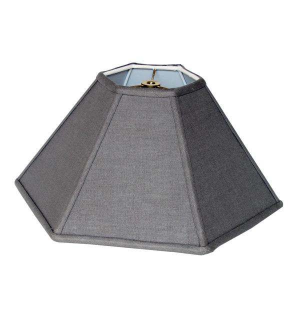 Hexagon Coolie Hardback Lampshade in 523-Gray Linen