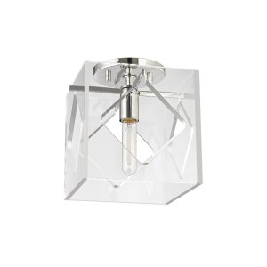 5909F-PN_Hudson Valley Travis Single Light Acrylic Flush Mount Ceiling Fixture with Polished Nickel Accents