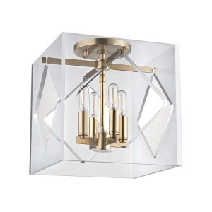 5912F-AGB_Hudson Valley Travis 4-Light Acrylic Flush Mount Ceiling Fixture with Aged Brass Accents