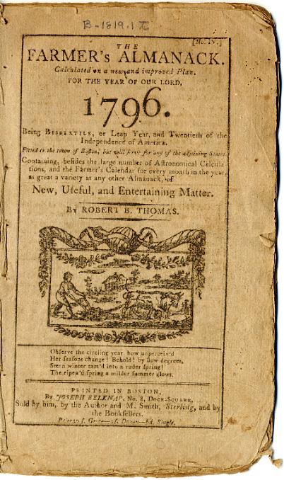 Concord Free Public Library Almanac Collection 17921950  Special Collections  Concord Free