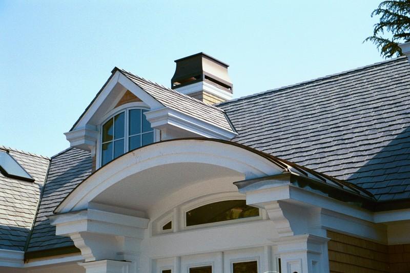 Standing Seam Copper Dormer Roof Over Entryway