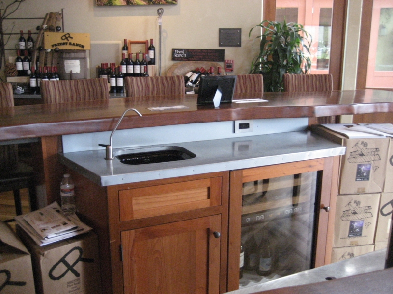 mm blue gray zinc countertop with backsplash and undermount sink