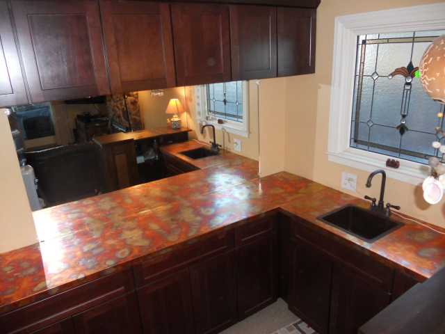 Copper Countertop With Burnished Finish