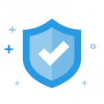 Blue shield with check mark icon