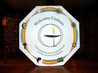Welcome Visitors chalice in the church parlor