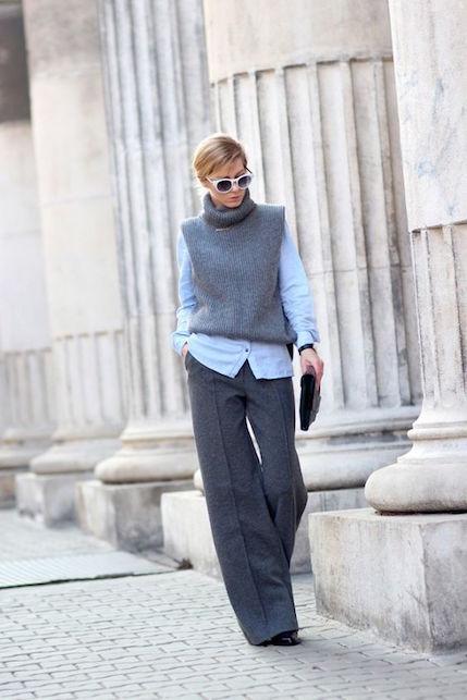 Come indossare i pantaloni palazzo in inverno