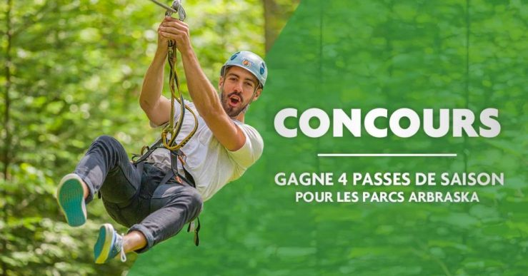 À gagner : 4 passes de saison pour les 5 parcs Arbraska du Québec et les 5 parcs en Ontario!