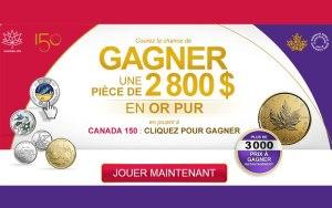 Concours Gagner une pièce en or pur d'une valeur de 2800$