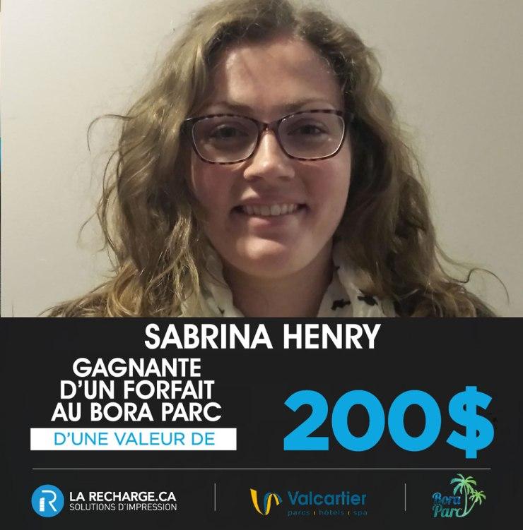 Félicitacion à Mme Sabrina Henry