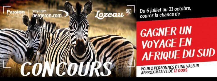 Concours - Gagner un voyage en Afrique pour 2 personnes Valeur de 11590$