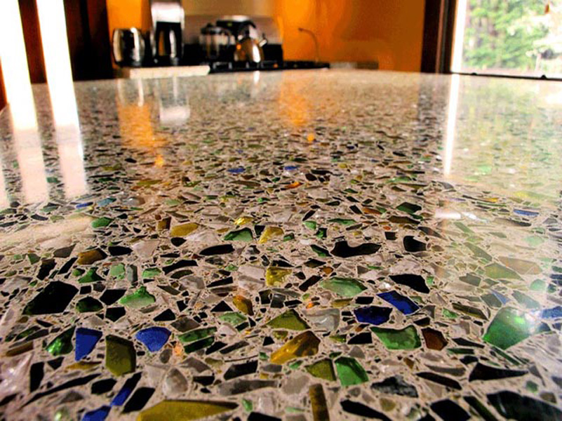 Recycled glass self-level overlay
