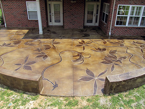 backyard patio sports acid stained