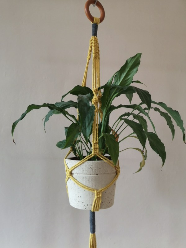 Bright macrame plant hanger photo 2 yellow
