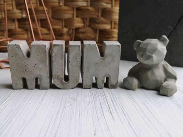 Concrete mum letters and teddy bear main photo