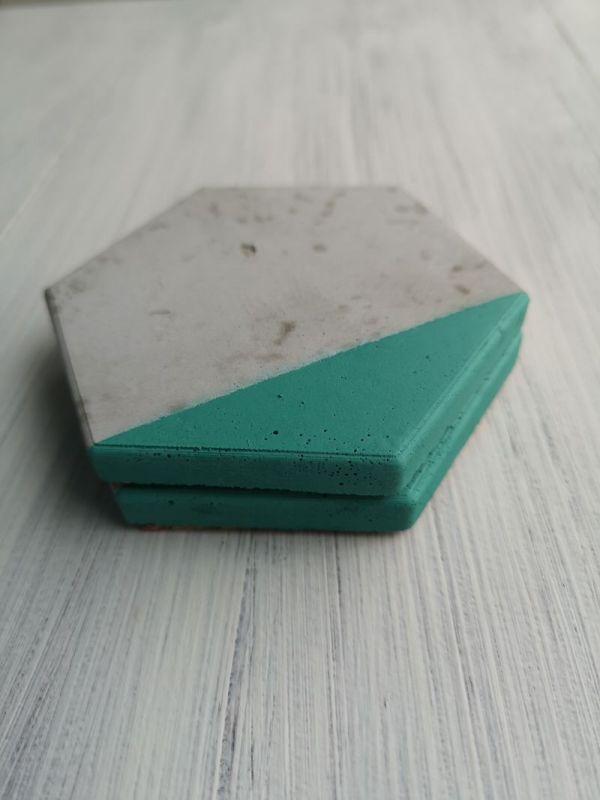 Green and Grey Hexagonal Coasters photo 1