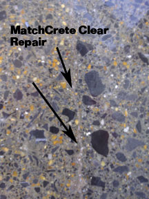 Polished concrete repair with Concrete Mender™ Off-white.