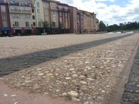 Roadware MatchCrete Clear repairs cracks in the plaza at a resort near Orlando, Florida.