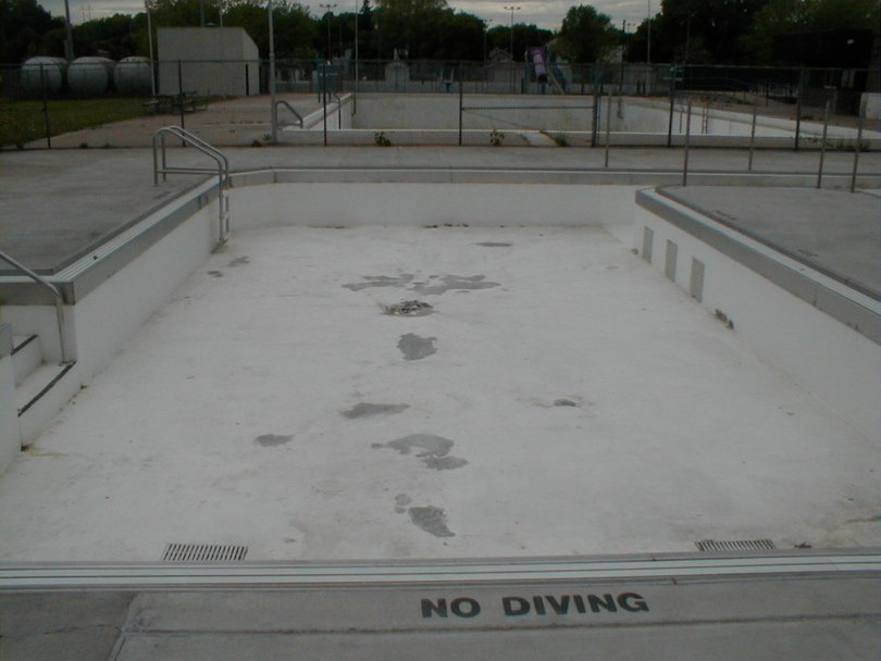Concrete city pool with Concrete Mender repairs.