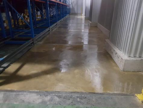 Freezer warehouse floor coated with Roadware Freezer Floor Coating.