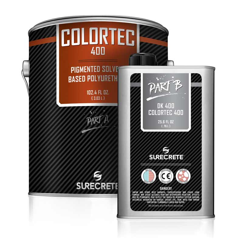 SureCrete Design Products ColorTec 400 Solvent Polyurethane Colored Concrete Floor Sealer. Solvent aliphatic polyurethane solid color concrete floor paint product for strong chemical resistant floors. Polyurethane enamel garage floor paint products that are easy to apply.