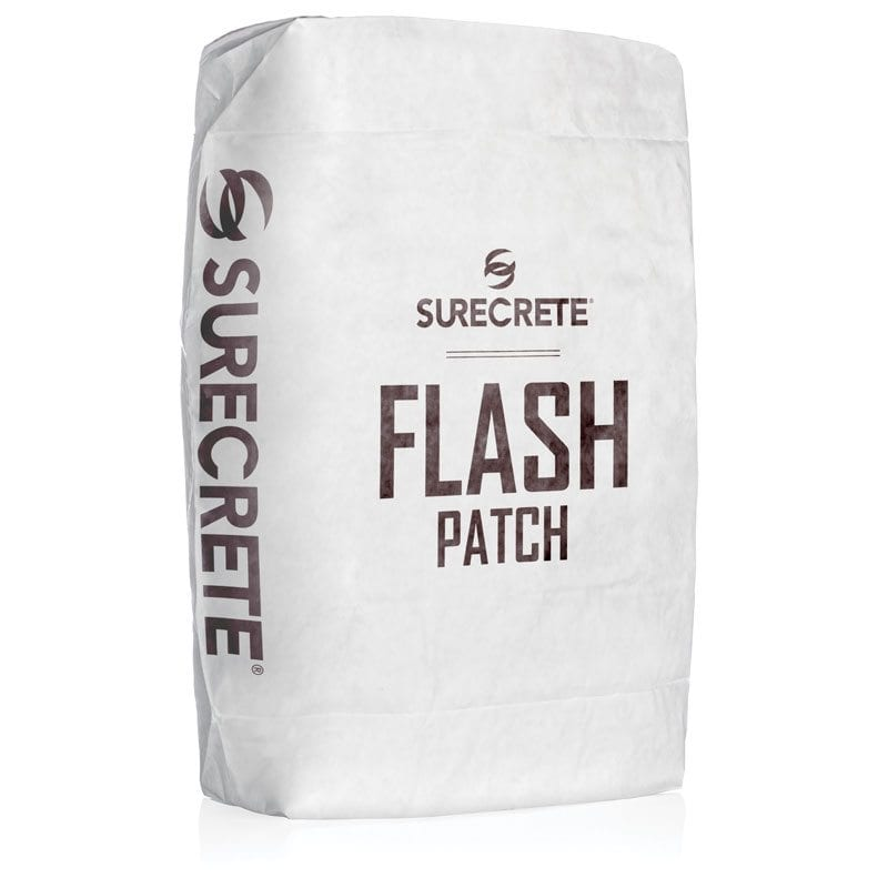 SureCrete Flash Patch fast setting concrete patch material system. Fast setting concrete repair material that works better than hydraulic cement. Concrete repair that sets up fast. Quick concrete repair material.