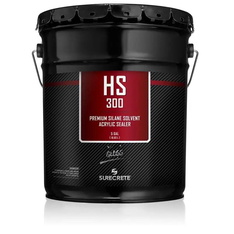 SureCrete HS300 Clear Silane Acrylic Sealer for Concrete Overlay and exterior concrete. Clear acrylic concrete sealer for decorative concrete projects. Performance clear decorative overlay concrete sealer. Penetrating high solids clear concrete sealer.