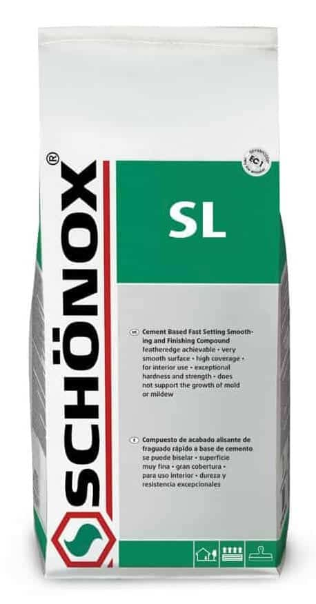 Schonox SL Cement Smoothing and Finishing Compound for feather finish smoothing and patching under floor coverings and self leveling underlayment systems. Feather finish concrete patch material system in easy to use just add water mix design.