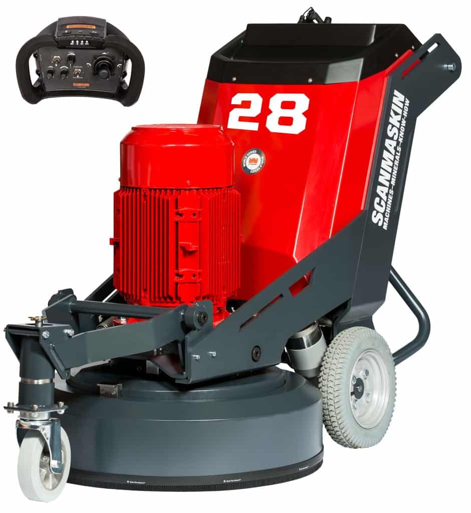 Scanmaskin World Series 28 Concrete Grinder with Radio Control for remote control operated concrete polishing and remote control concrete grinder