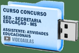 Curso Vídeo Aulas Concurso SED – MS – Assistente: Atividades Educacionais – Pendrive