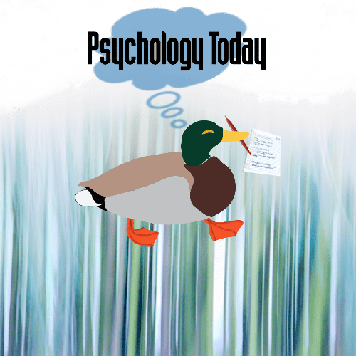 Mallard duck cartoon with pen and paper, thought bubble above in blue with Psychology Today logo within and over bubble
