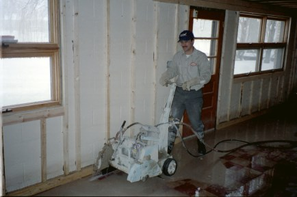 "7 h.p. electric saw can be carried down stairs, cuts up-to 8"" deep"