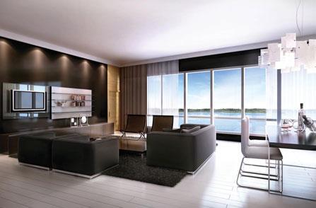 Pier 27 Condos Living Room Toronto, Canada
