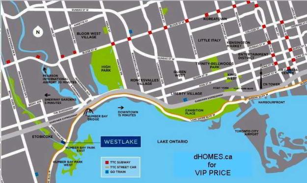 Westlake Condos Road Map Toronto, Canada