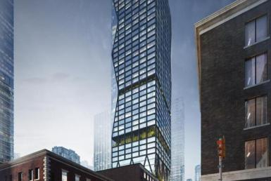 Rendering of 263 Adelaide Condos building exterior and surrounding street area.