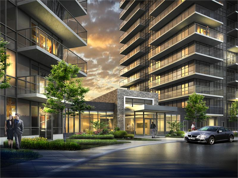 Downtown Erin Mills Condos Front View Toronto, Canada
