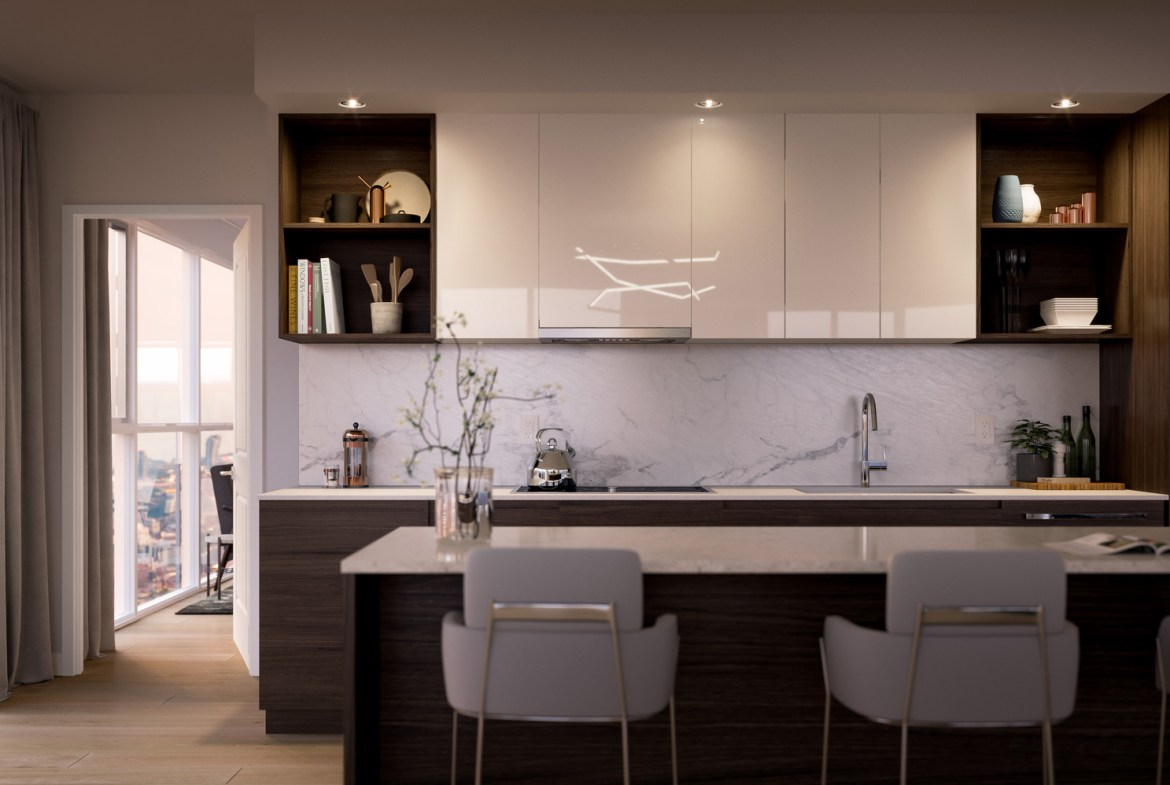 Rendering of 8 Cumberland Condos suite interior kitchen.