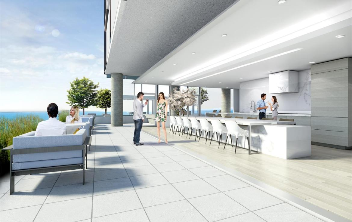 Rendering of Nautique Lakefront Residences terrace with bar