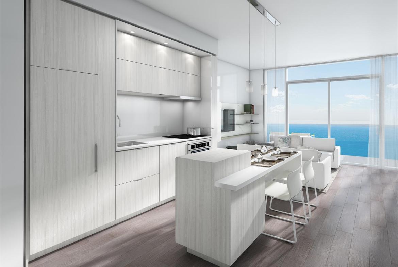 Rendering of Nautique Lakefront Residences 1-bedroom suite kitchen