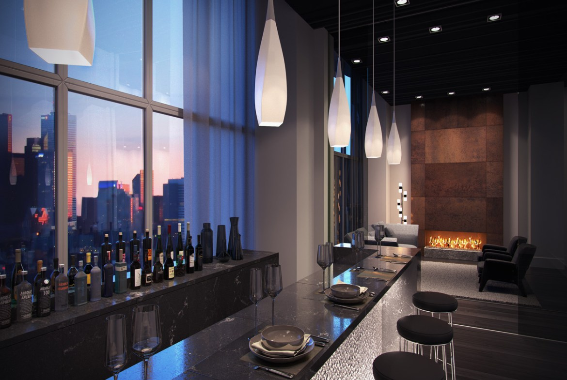 Rendering of Plaza Midtown Condos party room with bar.