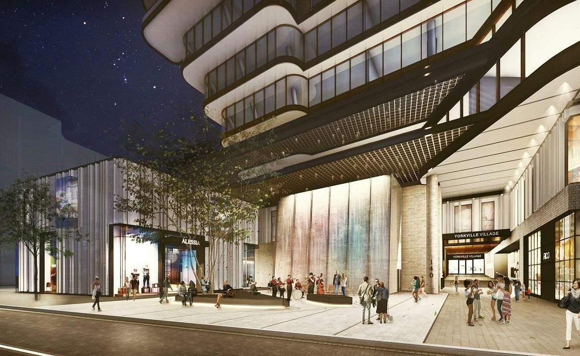 Rendering of 33 Avenue Road Condos entrance at night.