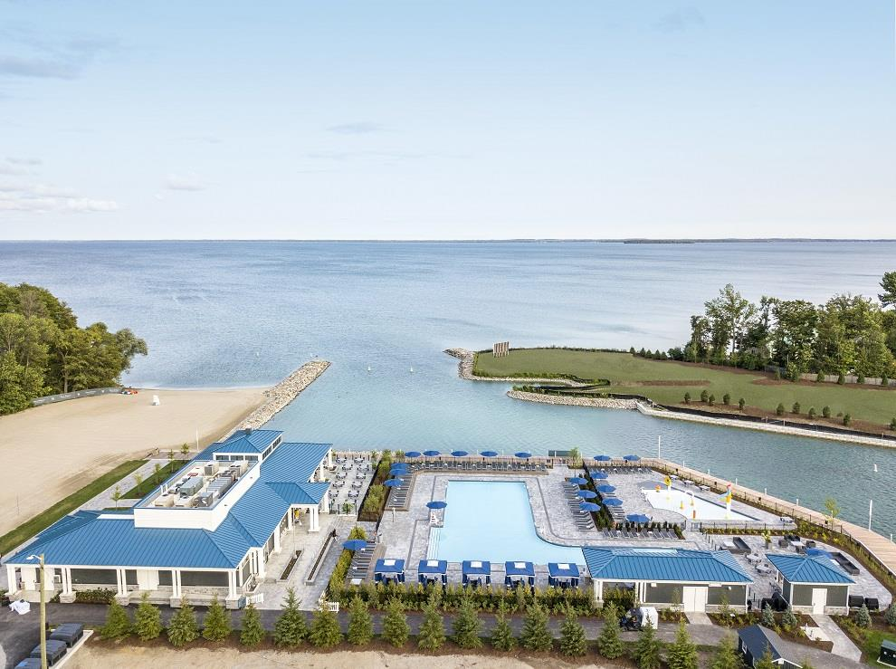 Friday Harbour Resort Condos and Towns aerial beach club pool