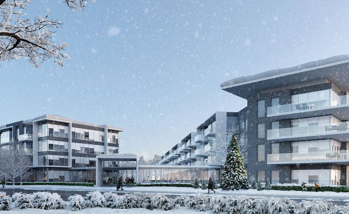 Friday Harbour Resort Condos and Towns exterior during winter