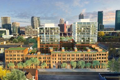 West Condos rendering of building exterior and surrounding area