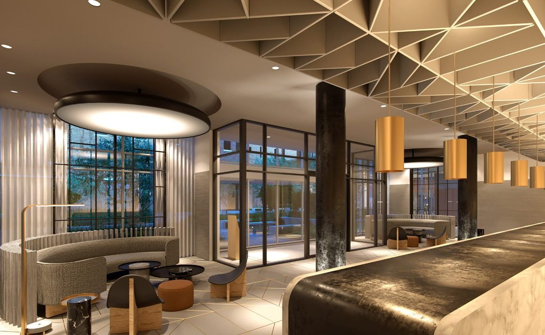 West Condos rendering of building lobby